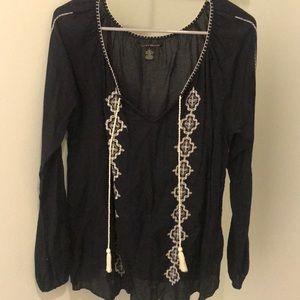 Lucky brand black long sleeve blouse